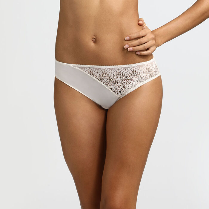 Dim Clair-Obscur Mother-of-pearl lace and microfibre briefs, , DIM
