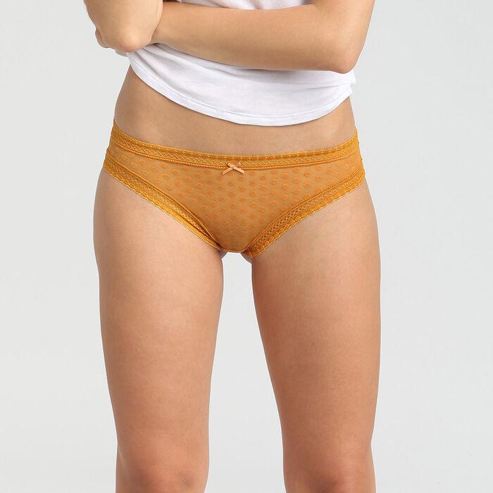 Желтые кружевные слипы с принтом горох Dim Dotty Mesh Panty Box, , DIM
