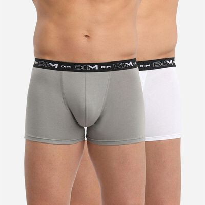 Set of 2 DIM Coton Stretch anthracite and white boxers, , DIM