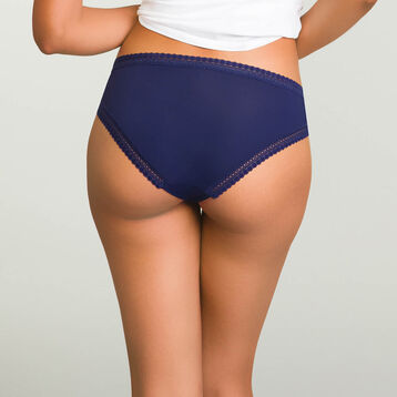 Infinite Blue microfiber brief Micro Lace Panty Box, , DIM