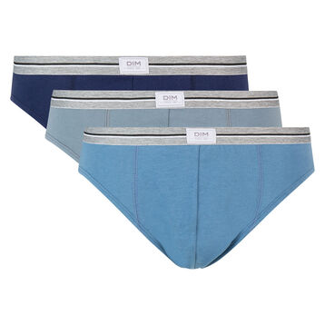 Lot de 3 slips bleu denim gris en coton stretch résistant Ultra Resist, , DIM