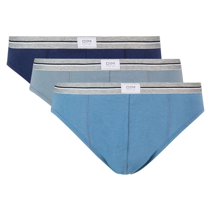 Ultra Resist 3 pack resistant stretch cotton briefs in grey and denim blue, , DIM