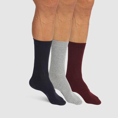 Basic Cotton pack of 3 pairs of men's socks Blue Burgundy Grey, , DIM