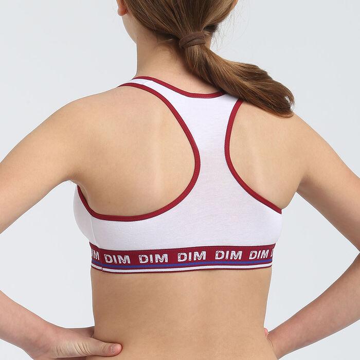 Brassière fille coton stretch motif ligne et lettrage Cerise Dim Sport, , DIM