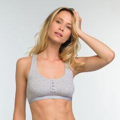 Mottled grey bra in stretch cotton Casual Line, , DIM