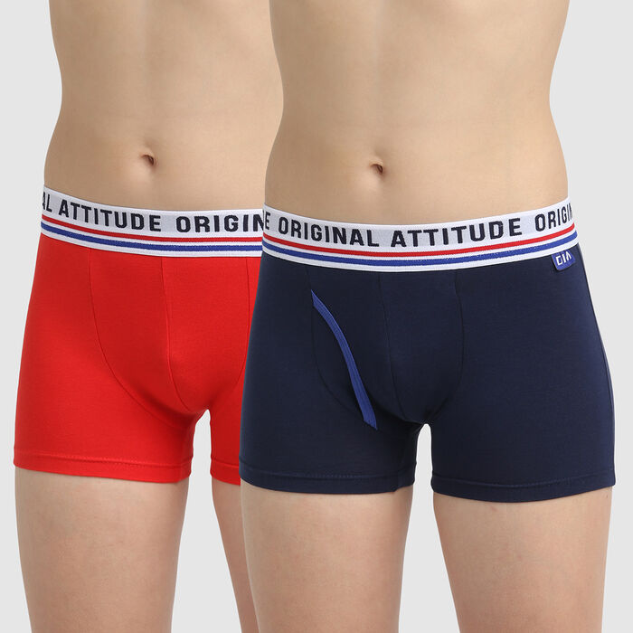 Pack of 2 navy blue and red boy's trunks in cotton stretch Dim Original, , DIM