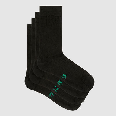 Pack of  2 pairs of Lyocell grey ribbed men's socks Green by Dim, , DIM
