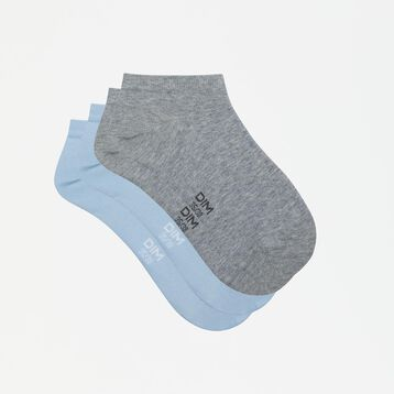 Basic Cotton 2 pack  ankle socks in cashmere blue and grey, , DIM