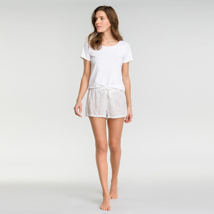 Short pyjama blanc tacheté - Fashion, , DIM