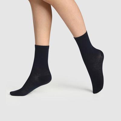 Набор 2 шт.: синие женские носки из натурального хлопка Green by Dim, , DIM