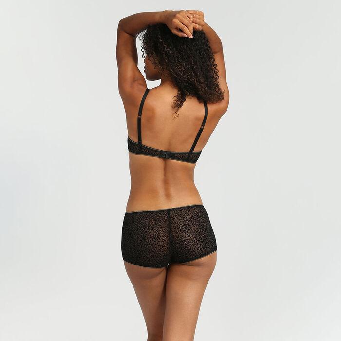 Shorty tulle et velours précieux noir Chic Line, , DIM