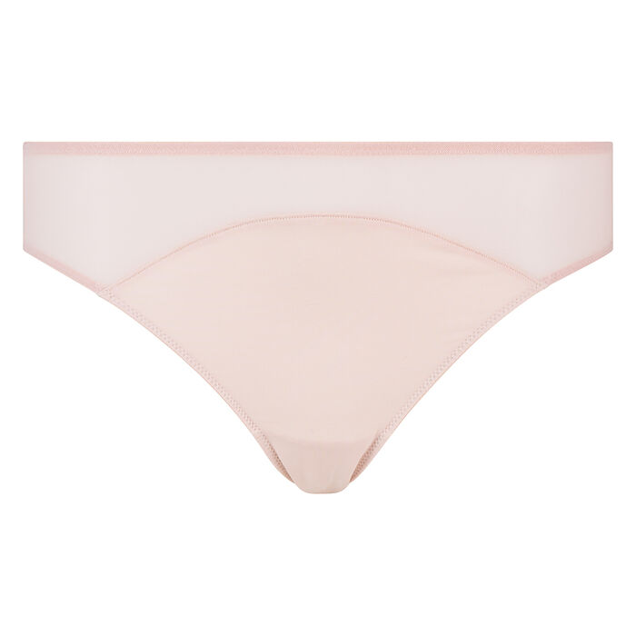 Culotte en microfibre et tulle skin rose Reine de Cœur Micro Mesh Dim, , DIM