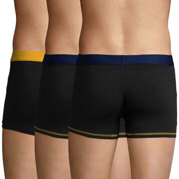 3 Pack trunks Black-Navy, Blue and Black-Saffron Yellow Color Mix, , DIM