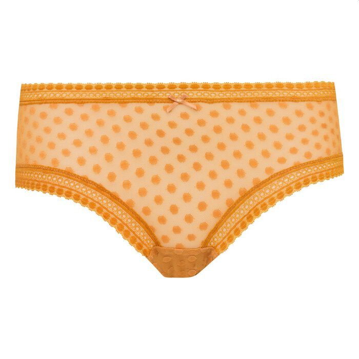 Dim Dotty Mesh Panty Box desert yellow polka dot lace shorties, , DIM