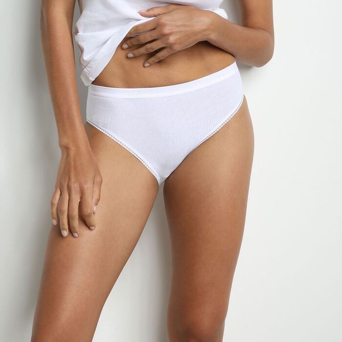 Pack of 2 pairs of Pur Coton midi knickers in white, , DIM