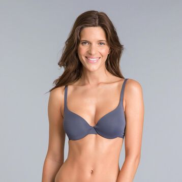 Invisi Fit granite grey push-up demi-cup bra, , DIM
