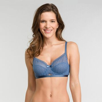 Balconette bra in blue lace - Dim Daily Glam Trendy Sexy, , DIM