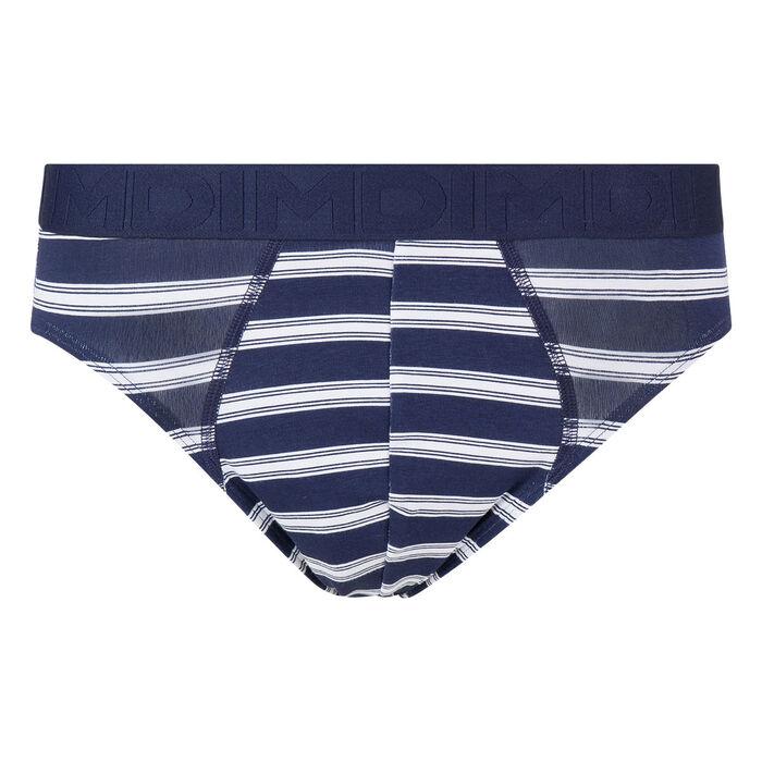 Slip homme bleu blanc en coton stretch à rayures Mix & Fancy, , DIM