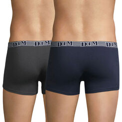 Pack of 2 pairs of EcoDIM Mode stretch cotton trunks in blue and grey, , DIM