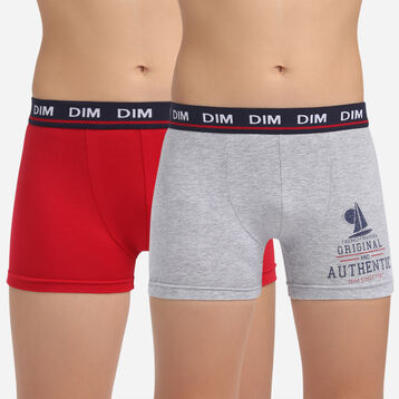 2 pack French Riviera mottled grey stretch cotton trunks Dim Boy, , DIM