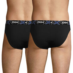 Pack of 2 pairs of black X-Temp stretch cotton briefs, , DIM