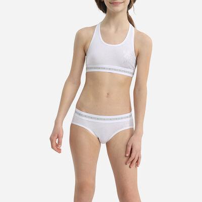 Dim Sport Girl's stretch cotton shorty white with silver print, , DIM