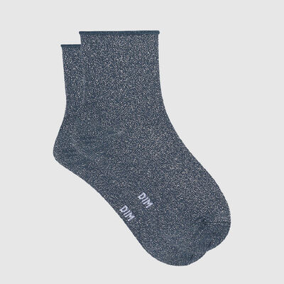 Cotton Style women's brushed cotton and lurex ankle socks Petrol Blue, , DIM
