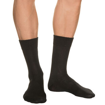 Men's black wool socks, , DIM