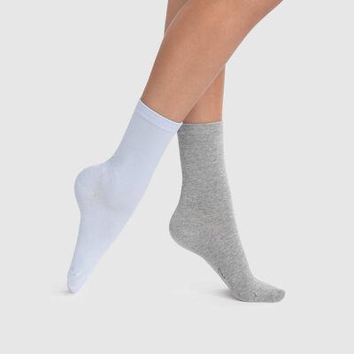 Lot de 2 paires de chaussettes femmes bleu cachemire gris Basic Coton, , DIM