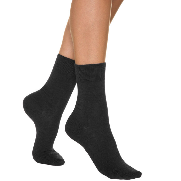 Black woollen women's socks, , DIM