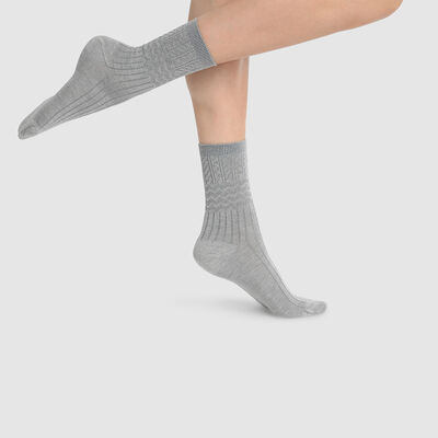 Dim Laine women's warm textured wool socks Light Heather Grey, , DIM
