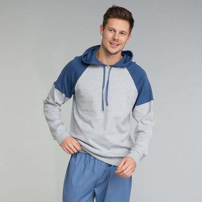 Mottled Grey Hoodie Pyjama - Essential, , DIM