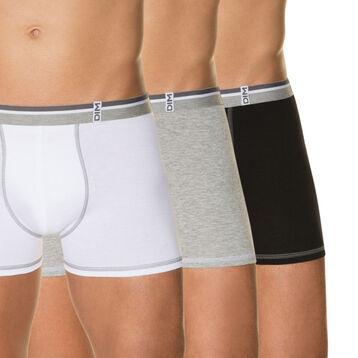 Lot de 3 boxers blanc, gris chiné, noir 100% coton, , DIM