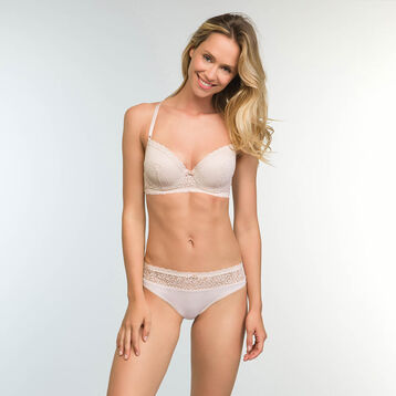 Push up Balconette Bra in Light Beige Daily Glam Trendy Sexy , , DIM