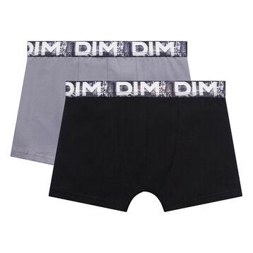 Lot de 2 boxers garçon noir et gris clair ceinture imprimé Japon - Box Japon, , DIM