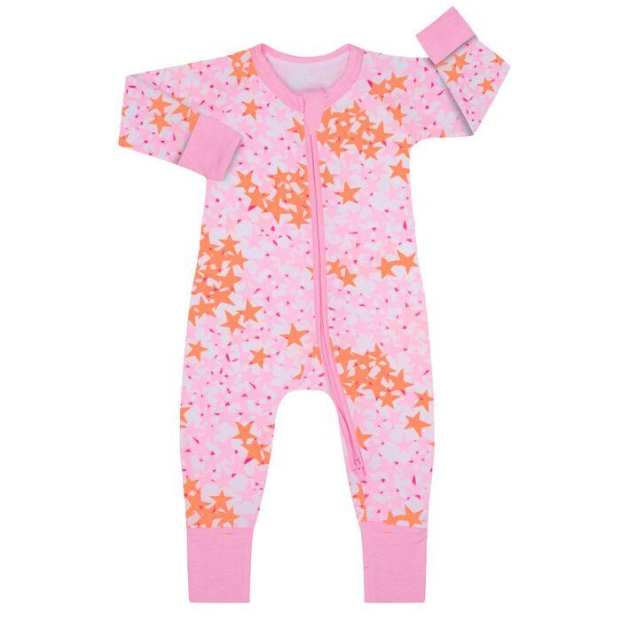 Pijama con cremallera de algodón elástico rosa con estampado de estrellas, , DIM