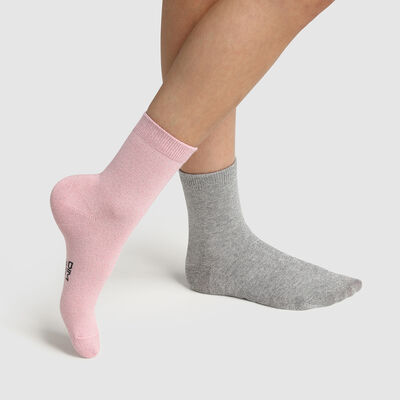 Pack of  2 pairs of grey lurex cotton children's socks Cotton Style, , DIM