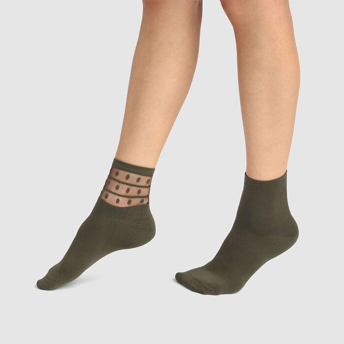Lot de 2 paires de socquettes femme en microfibre olive night Dim Skin, , DIM