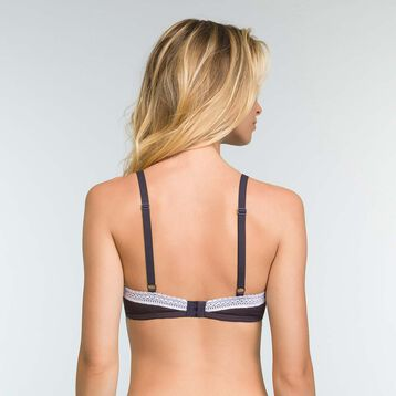 Padded Granite Grey triangle bra in cotton Softly Line, , DIM