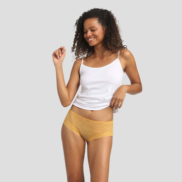Golden yellow shorty in microfiber with leopard print lace Dotty Mesh, , DIM