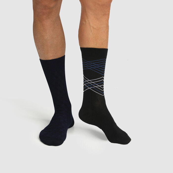 Cotton Style 2 pack men's socks in black with striped print, , DIM