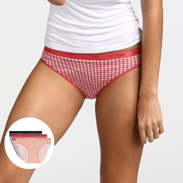 Les Pockets de Dim pack of 3 gingham print stretch cotton knickers, , DIM