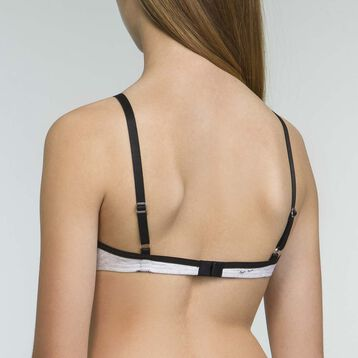 Girls' black triangle bra with removable padding Les Pockets, , DIM
