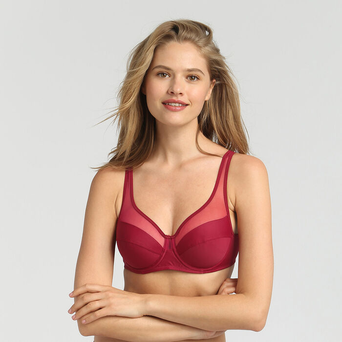 Dim Generous varnish red underwired bra, , DIM