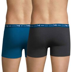 Set of 2 DIM Coton Stretch lead grey and ocean blue boxers - DIM