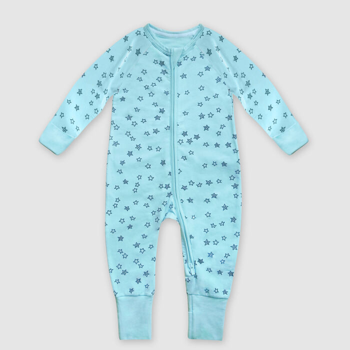 Dim Baby pyjama with zip up light blue cotton stretch pyjama with star rain print, , DIM