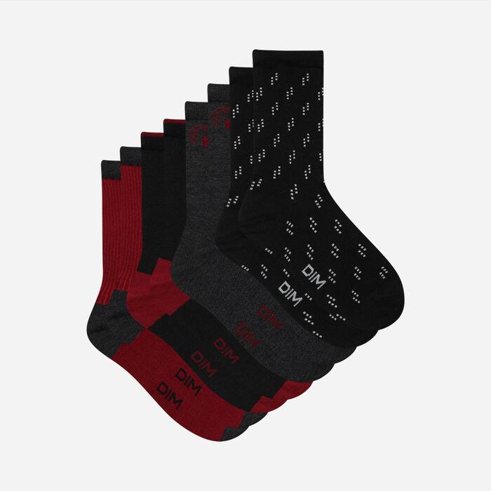 Dim Women's  Pack of 4 Pairs of Women's  Black Burgundy Cotton Socks, , DIM