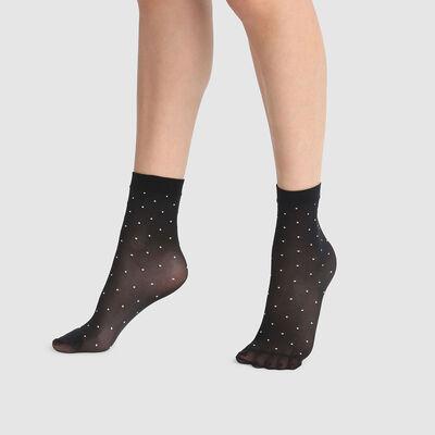 Dim Style 36D black plumetis fancy socks with white polka dots, , DIM