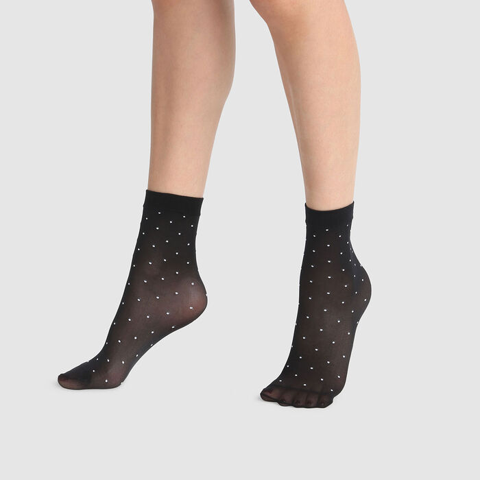 Dim Style 36D black plumetis fancy socks with white polka dots, , DIM