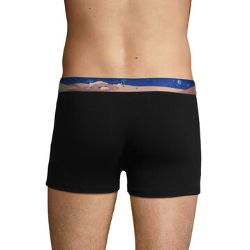 Stretch cotton trunks with printed waistband Black, , DIM